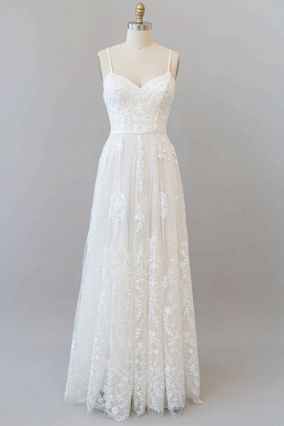 Chic Spaghetti Strap Appliques Tulle Wedding Dress_2