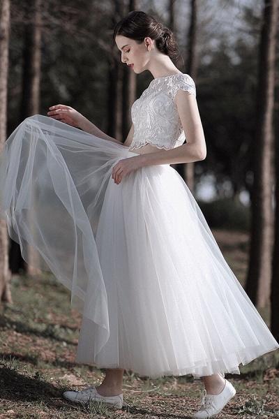Latest Short Sleeve A-line Tulle Wedding Dress_5
