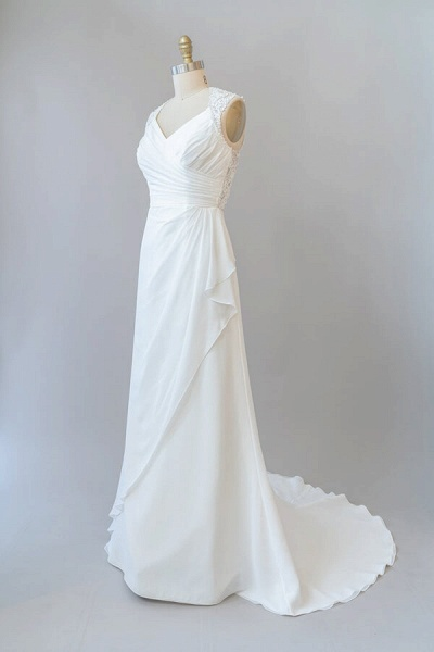Awesome Ruffle Lace Chiffon Sheath Wedding Dress_4