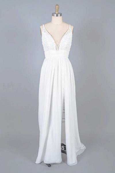 Front Slit Lace Chiffon Sheath Wedding Dress_1