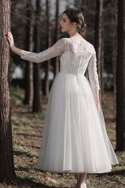 Long Sleeve Sequins Tulle A-line Wedding Dress_3