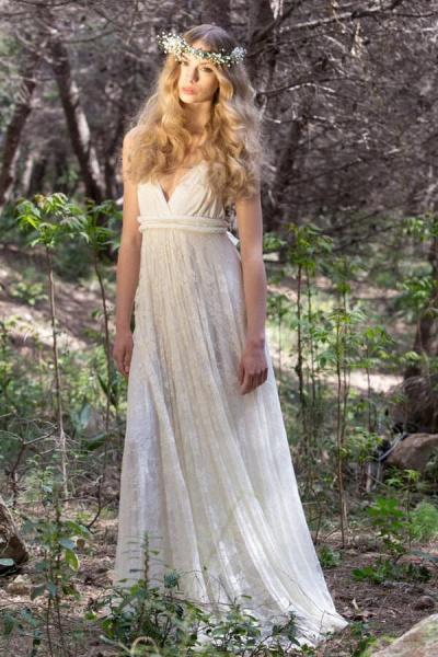 Awesome V-neck Lace Sheath Wedding Dress_1