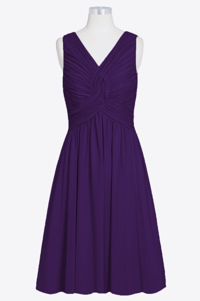 Ruffle V-neck Chiffon A-line Bridesmaid Dress