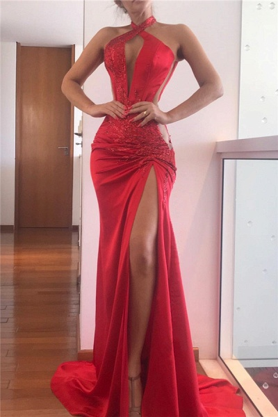 Sequined Splitfront Mermaid Evening Gowns|Halter Sexy Prom dresses_1