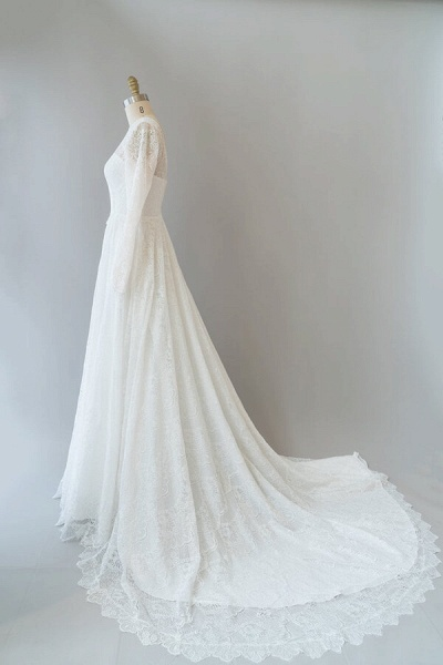Illusion Long Sleeve Lace A-line Wedding Dress_5