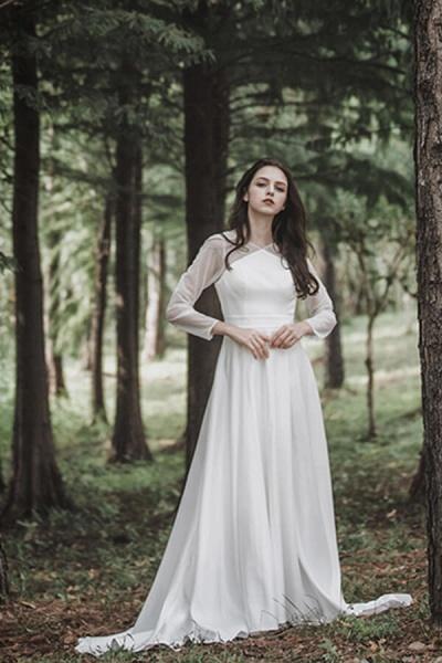 Elegant Long Sleeve Satin A-line Wedding Dress_4