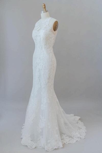 Awesome Illusion Lace Mermaid Wedding Dress_4