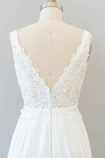 V-neck Appliques Chiffon A-line Wedding Dress_8