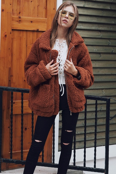 Winter Fashion Going out Basic Regular Faux Fur Coat_32