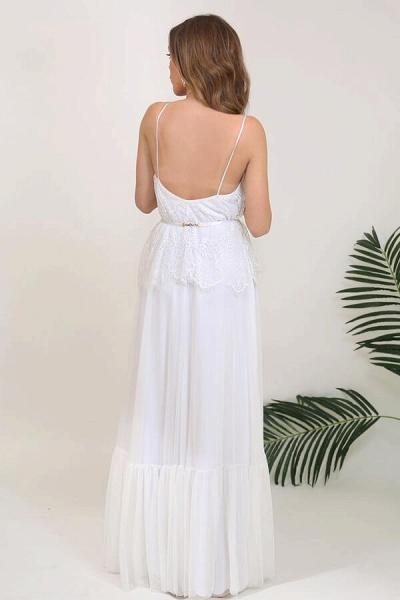 Spaghetti Strap Lace Chiffon Sheath Wedding Dress_3