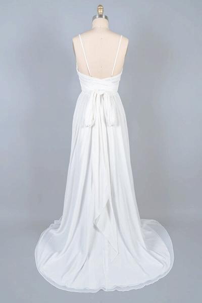 Front Slit Lace Chiffon Sheath Wedding Dress_3