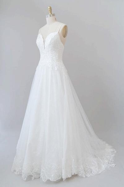 Spaghetti Strap Applique Tulle A-line Wedding Dress_4