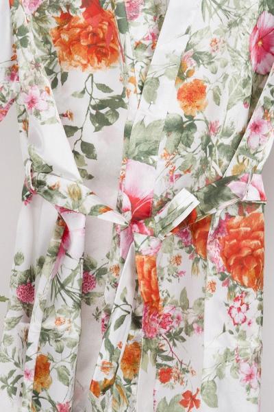 Short Sleeve Floral Print Bridesmaid Bridal Robes_2