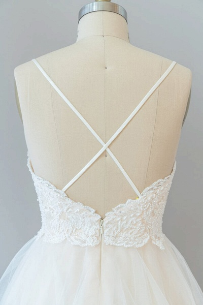 Spaghetti Strap Lace Tulle A-line Wedding Dress_8