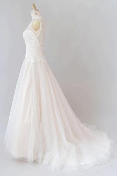 Elegant Open Back Lace Tulle A-line Wedding Dress_1