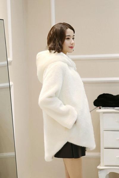 Hooded Daily Basic Club Faux Fur Coat_13
