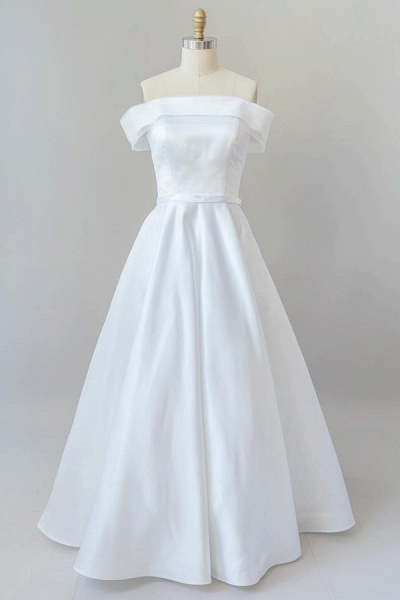 Graceful Off Shoulder Satin Ball Gown Wedding Dress_1