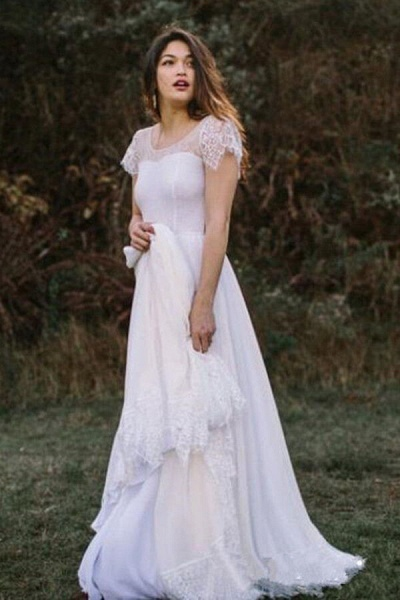 Short Sleeve Floor Length Lace A-line Wedding Dress_2