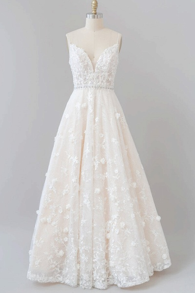 Awesome Appliques A-line Tulle Wedding Dress_1