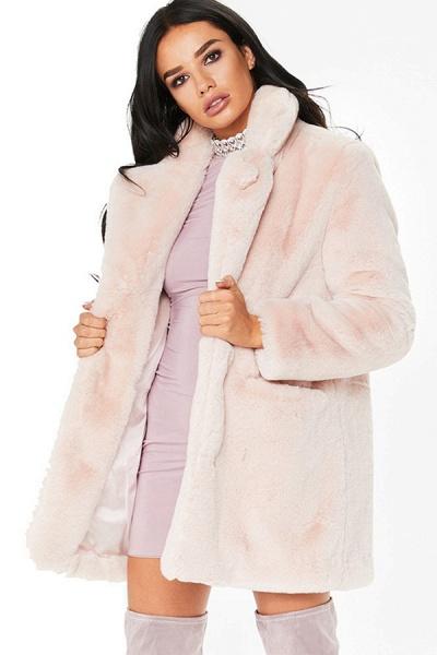 Winter Daily Regular Stand Long Faux Fur Coats_3