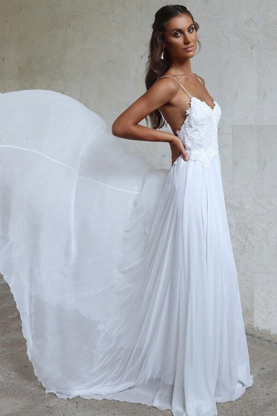 Appliques Spaghetti Strap Chiffon Wedding Dress_5