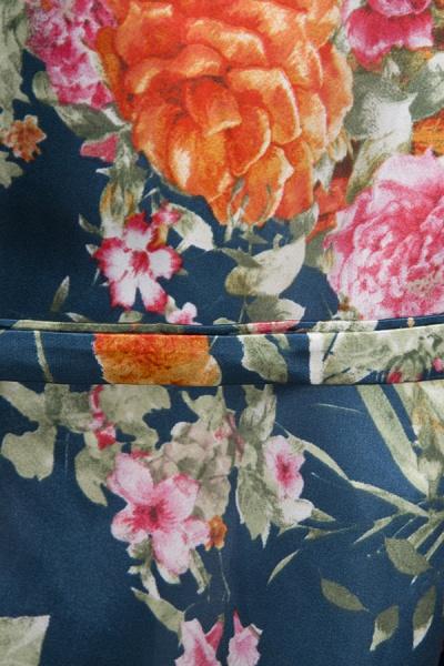 Short Sleeve Floral Print Bridesmaid Bridal Robes_29