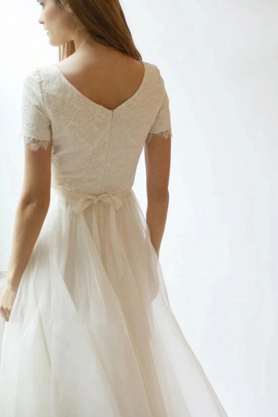 Modest Short Sleeve Lace Tulle A-line Wedding Dress_3