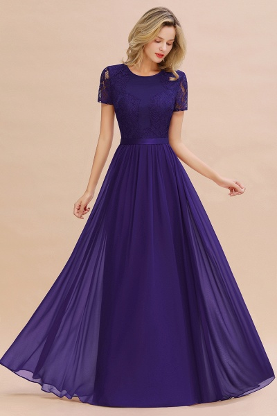 BM0831 Chiffon Lace Scoop Short Sleeve Bridesmaid Dress_19