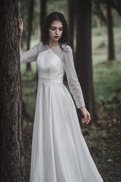 Elegant Long Sleeve Satin A-line Wedding Dress_6