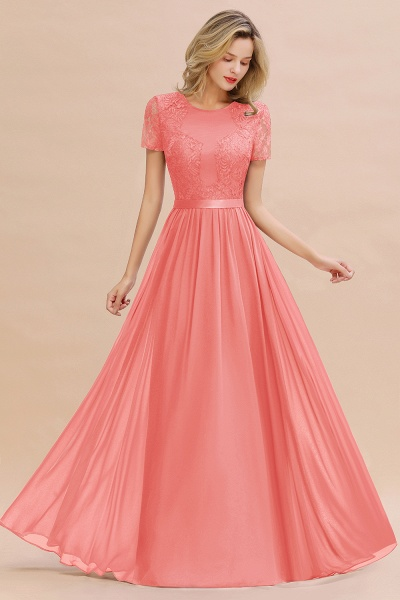 BM0831 Chiffon Lace Scoop Short Sleeve Bridesmaid Dress_7