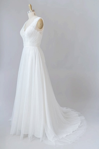 Ruffle V-neck Lace Tulle A-line Wedding Dress_5