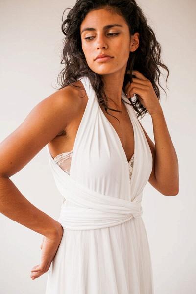 Criss Cross Lace Chiffon Sheath Wedding Dress_4