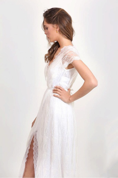 Front Slit V-neck Short Sleeve Lace Wedding Dress_8