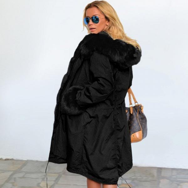Winter Faux Fur-trimmed Long-length Overcoat_34