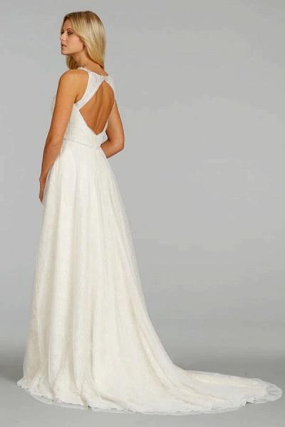 Ruffle Beading V-neck Tulle A-line Wedding Dress_3