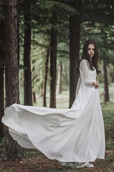 Elegant Long Sleeve Satin A-line Wedding Dress_3