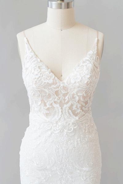 Elegant Appliques V-neck Sheath Wedding Dress_6