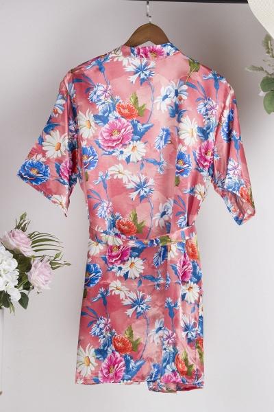 Short Sleeve Floral Print Bridesmaid Bridal Robes_10