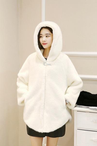 Hooded Daily Basic Club Faux Fur Coat_15