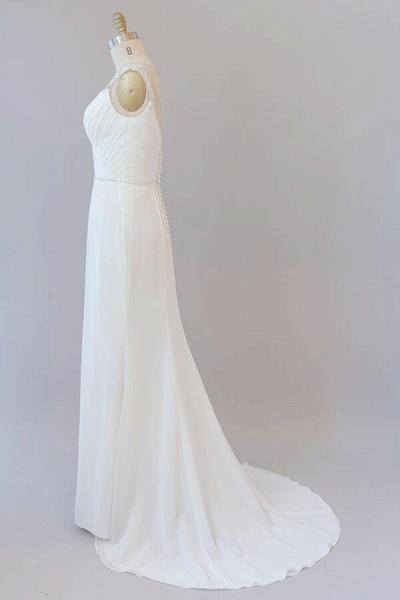 Elegant Ruffle Beading Chiffon Sheath Wedding Dress_5