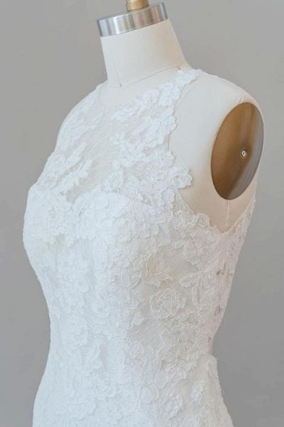 Awesome Illusion Lace Mermaid Wedding Dress_7