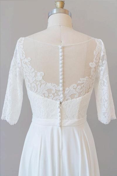 Graceful Lace Chiffon Floor Length Wedding Dress_8