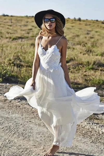 Spaghetti Strap Appliques Chiffon Wedding Dress_1