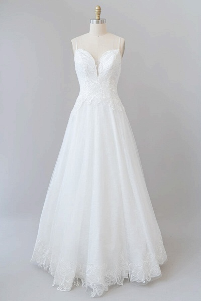 Spaghetti Strap Applique Tulle A-line Wedding Dress_1