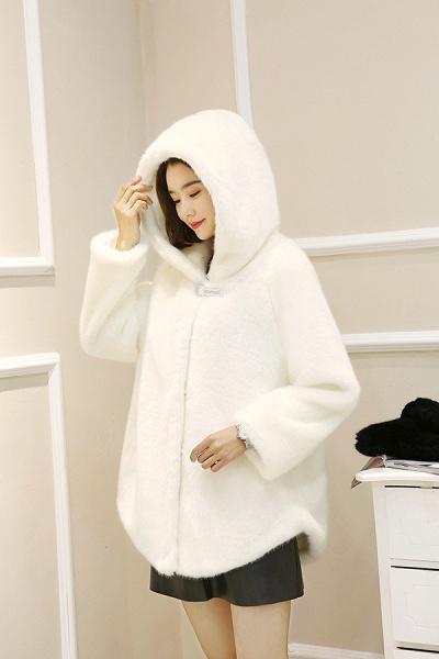 Hooded Daily Basic Club Faux Fur Coat_10