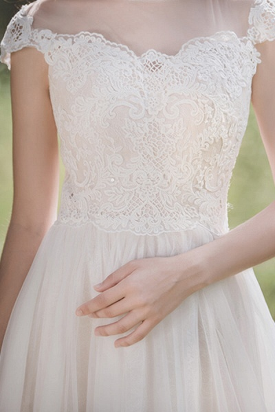 Awesome Cap Sleeve Lace Tulle A-line Wedding Dress_11