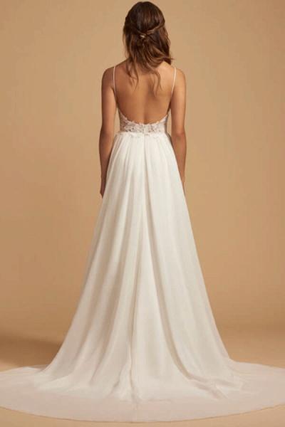 Elegant Open Back Appliques Chiffon Wedding Dress_4
