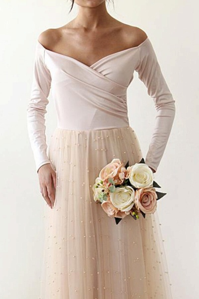 Long Sleeve Off The Shoulder Tulle Wedding Dress_6