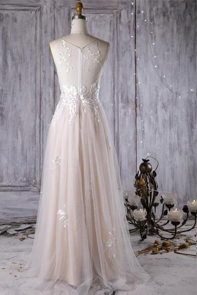 Chic Ruffle Floor Length Tulle A-line Wedding Dress_3
