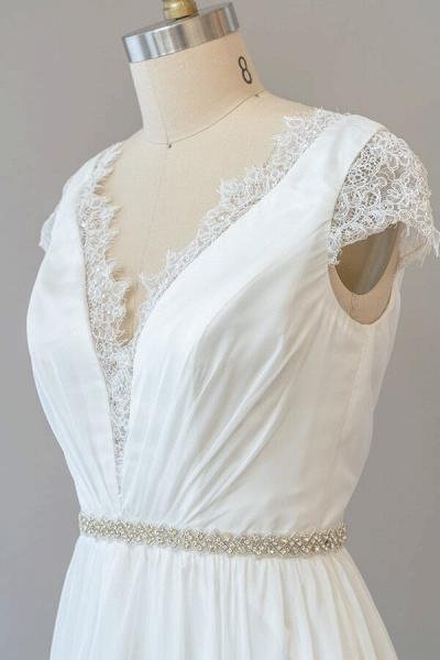 Cap Sleeve V-neck Lace Chiffon Sheath Wedding Dress_6